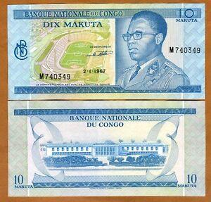 Congo D.R., 10 Makuta, 1967 P-9, Ch UNC