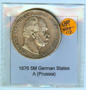 """1876 A GERMAN STATES 5 MARK Silver Coin """"Prussia"""" XF- Y#122A🔥NICE"""