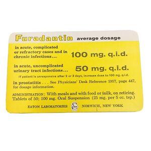 Furadantin Nitrofurantoin Oral Suspension Antibiotic Medical Drug Info Card 1957