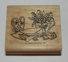 Stationery Set Rubber Stamp Lily of Valley Flowers Heart Paper Pen Stampin Up