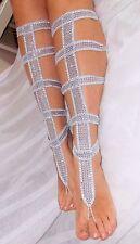 Crochet Barefoot Sandals-Silver Diamond -Gladiator-Handmade-Foot Jewelry-Beach