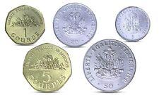 SALE HAITI 5 COINS SET 5, 20, 50 CENTS, 1 GOURDES, 5 GOURDES UNC