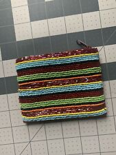 Vintage Barse Beaded Coin Purse, Rainbow With Maroon Lining