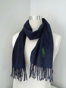 BNWT Polo Ralph Lauren Navy Green Big Pony Embroidered Scarf