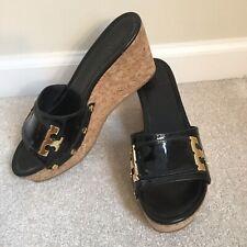 TORY BURCH Pamela Black Patent Leather Platform Cork Wedge Sandal size 8.5