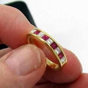 Tiffany & Co. Estate Vintage 18K Yellow Gold Diamond Ruby 98 Carat Band Ring