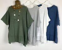 NEW Italian Tunic Top Crinkle Lagenlook Womens UK Plus Size 16 18 20 22 24