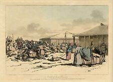 JOHN ATKINSON, MARKET SCENE IN RUSSIA  & ORIGINAL ca 1803 HAND COLORED AQUATINT