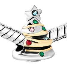 Christmas Tree Charm Crystal Dangle Spacer Bead Pandora Bracelet Xmas Gift