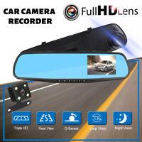 1080P 3.5'' Dual Lens Car DVR Dash Cam Reversing Camera Mirror Video  * *
