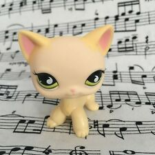 Yellow & Cream Kitty Toys Short Hair Cat Green eyes LPS #733  Littlest pet shop