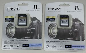 PNY 8 GB SDHC High Speed 15MB/s Ideal for DSLR Cameras & Camcorders Lot of 2