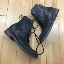 EUC Vic Matie Booties Boots leather Black  Lace Up zipper combat Italy 38.5 8.5