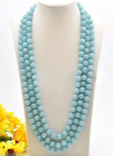 Fashion Women 8mm Natural Brazilian Aquamarine Round Beads Necklace 72''