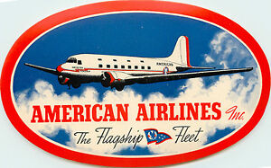 The Flagship Fleet ~AMERICAN AIRLINES~ Vibrant Old Luggage Label, 1955  MINT