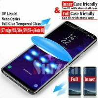 Samsung Galaxy S8 S9 Plus Note 8 9 Full Glue Liquid UV Curved Tempered Glass /LE