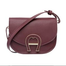 Aigner Shoulder Bag Crossbody Pina Mini Burgundy Leather New