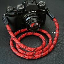 HandMade Camera Strap Rope  Lieca sony Fuji 120cm Red/Black