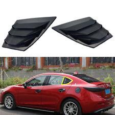 Black Rear Window Side Louvers Vent Panel Trim For Mazda 3 Axela 4Dr Sedan 14-18