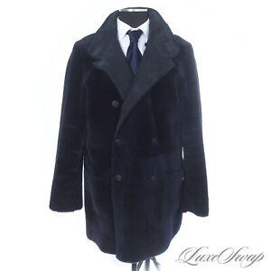 #1 MENSWEAR INSANE Giorgio Armani Midnight Suede Shearling Reversible Coat 52 NR