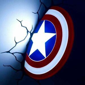 Marvel Captain America Shield 3D Wall Night Light  Kids Bedroom Night Lamp
