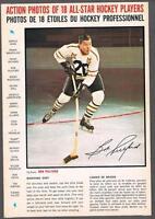 1966-67 General Mills Hockey Action Photo Full Back Box Bob Pulford Backhand