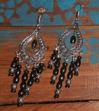 Handmade Boho Gypsy Ethnic Black Beaded Tibetan Silver Chandelier Earrings