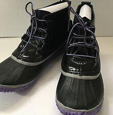 Sorel Big Kids Sz 7 Out N About Waterproof Rain Boots Black Patent New