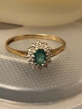 9K Yellow Gold Emerald & Diamonds Cluster Or Halo Ring Size 7