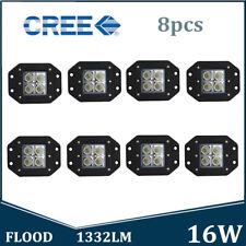 8X 16W CREE LED Work Light Flood Beam Offroad SUV ATV Truck UTE Flush Mount New