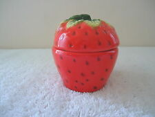 """Vintage Ceramic Strawberry Themed And Shaped Trinket Box """" Beautiful Collectible"""