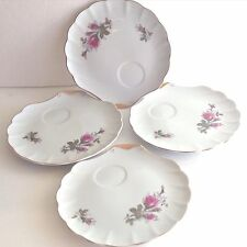 Vintage BURGUNDY MOSS ROSE Shell Shaped SNACK PLATE China With Gild