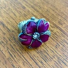 Maroon Flower Stainless Steel Ring Watch