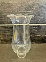 Clear Glass Ruffled Top Hurricane Candle Lamp Chimney Sconce Globe Shade