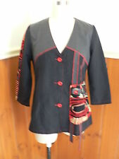 PRE LOVED HOT ICE COLLECTION S FUNKY TOP SHIRT BLOUSE RED GREY BLACK LIGHT
