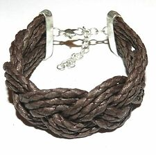 """BR496f Brown Woven Cotton 25mm w Silver Lobster Clasp Bracelet 7.5"""" w Extender"""