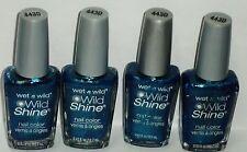 4 Bottles Of Wet n Wild (WILD SHINE!) Nail Color Nail Polish BIJOU BLUE #443D