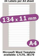 134x11mm 120 étiquettes MATT Livre blanc 5 feuilles A4 copieur laser jet d'encre autocollants