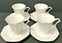 Nikko Classic Collection Made In Japan Tea Cup Saucer White Vintage Set of 4