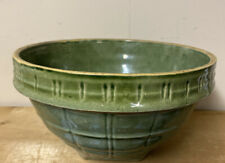Vintage McCoy Pottery #9 Green Stoneware MIxing Bowl Great Display Prop Crack