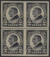 US Stamps - Scott # 611 - Imperf Harding Hor. Line Block of 4 - Dist. OG (H-738)