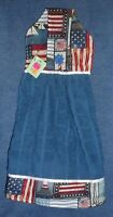 **NEW** Handmade Patriotic Flags & Lighthouses Hanging Kitchen Hand Towel #1508