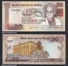 B.V.B MALTA 20 LIRI 1967 (1986) UNC Pick 40 - PRE-EURO. Ebay Best price.