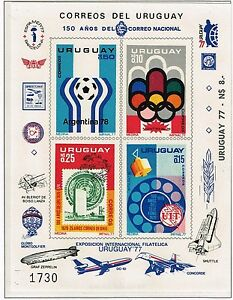 URUGUAY 1976 IMPERFORATED SS STAMP Sc. # 938/41 MNH OLYMPICS SOCCER WC