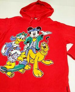 Vtg Mickey Unlimited Disney Skateboard Mickey Donald Pluto Red Hoodie Kids Shirt