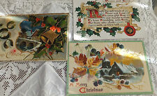 Antique lot 3 Assorted gold embossed Tucks Christmas postcards 1908 -1911