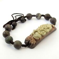 Natural Stone Gem Lucky Bat Tibet Buddhist Prayer Beads Mala Bracelet