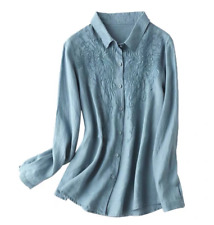 Womens Long Sleeve Tops Cotton Linen Casual Loose Fit Embroidery Blouse Shirts