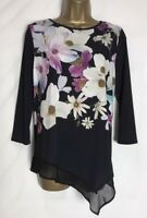 Roman Black Floral Stretch Jersey Tunic Top Sizes 10 - 20 New (r-4e)