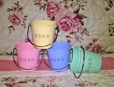 Egg Cup Buckets x 4. Tin Bucket Pail, Egg Cups Pastel Colours. Easter Gift